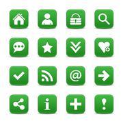 Green satin icon web button with white basic sign Stock Illustration