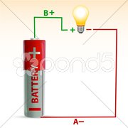 Battery with bulb Stock Illustration