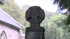 Celtic Cross at Nevern Stock Footage