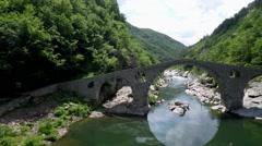 Aerial footage of Devil's Bridge in Bulgaria  Stock Footage