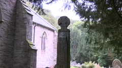 Celtic Cross at Nevern, Pembrokeshire Stock Footage