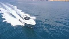Aerial view Luxury motor boat in navigation, motoryacht, Stock Footage