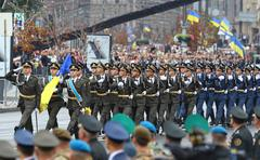 Military parade in Kyiv, dedicated to the Independence Day of Ukraine Stock Photos