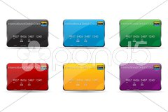 Colorful international debit cards Stock Illustration