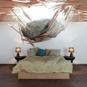 Bedroom and falling stone conceptual 3d illustration Stock Illustration