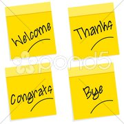 Greetings on sticky notes Stock Illustration