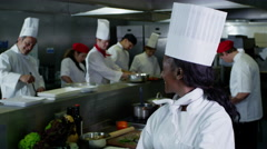 4K Portrait of smiling head chef and her staff in a commercial kitchen Stock Footage