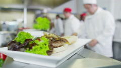 4K Delicious gourmet dish in a hotel or restaurant kitchen Stock Footage