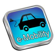 E-Mobility Button - 3D illustration Stock Illustration