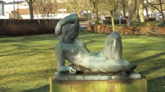 The sculpture of a naked girl in Denmark Stock Footage