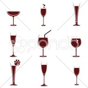 Wine in different glasses Stock Illustration