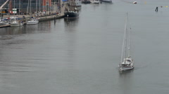 A yacht heading towards the  Gotha River Bridge Stock Footage