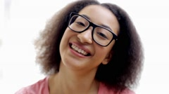 Happy african american young woman face laughing Stock Footage
