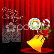Merry christmas card with sweet stick Stock Illustration