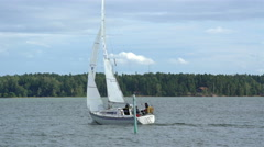 Sailing yachts maneuver in the Gulf of the Baltic Sea. Stock Footage