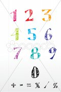 Sketchy number text Stock Illustration