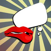 Sexy womens shiny red lips background vintage comment retro style pop art. Stock Illustration
