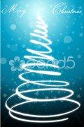 abstract merry christmas card with xmas tree - stock photo