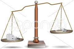 Bulb and cfl in beam balance Stock Illustration