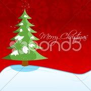 christmas card with xmas tree - stock photo
