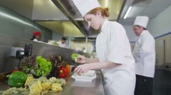 4K Team of professional chefs preparing food in a hotel or restaurant kitchen Stock Footage