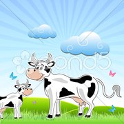 Sketchy cow with mammal in field Stock Illustration