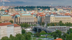 Beautiful View On Prague In Czech Republic timelapse With Flowing River Vltava Stock Footage