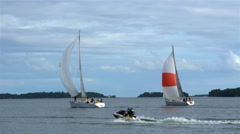 A yachts sailing in the Baltic sea. Stock Footage