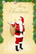 Christmas card with santa Stock Illustration