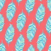 Vector Seamless pattern with decorative feather Stock Illustration