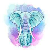 Indian Elephant on the Watercolor Blot Stock Illustration