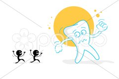 Afraid teeth Stock Illustration