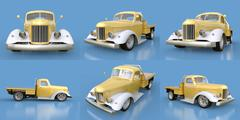 Set old restored pickup. Pick-up in the style of hot rod. 3d illustration Piirros