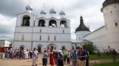 Historical buildings in of the Rostov Kremlin in Russia Stock Footage