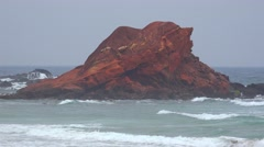 Rock Formation At Ocean Beach Stock Footage
