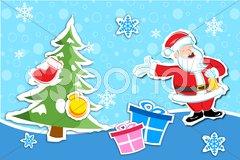 Santa in christmas card Stock Illustration