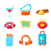 Travel Themed Objects Colorful Simplified Icons Stock Illustration