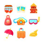 Travelling Related Objects Colorful Simple Icons - stock illustration