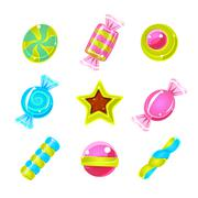 Hard Candy Colorful Cute Simple Icons Set Stock Illustration