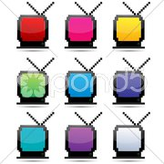 Colorful tv sets Stock Illustration