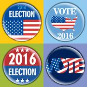 Election 2016 badge set with unites states of america flag. Digital vector im Stock Illustration