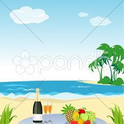 Beach scene Stock Illustration
