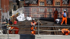 Crossrail Construction Station Building. Stock Footage