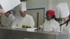 4K Team of professional chefs working together in a restaurant or hotel kitchen Stock Footage