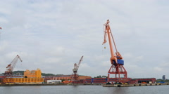 Disused shipyard cranes in Gothenburg Stock Footage