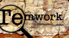 Magnifying glass on teamwork text Stock Footage
