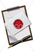 Letter and letter pad with seal Stock Illustration
