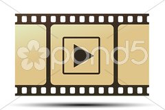 reel with play icon - stock photo