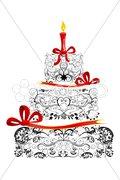 Floral birthday cake Stock Illustration