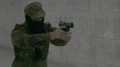 Soldier firing Walther P99 Stock Footage